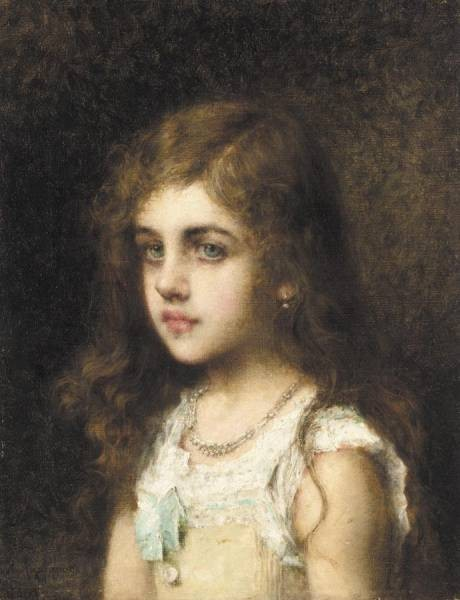 Harlamoff Alexej Young Girl with a Turquoise Bow